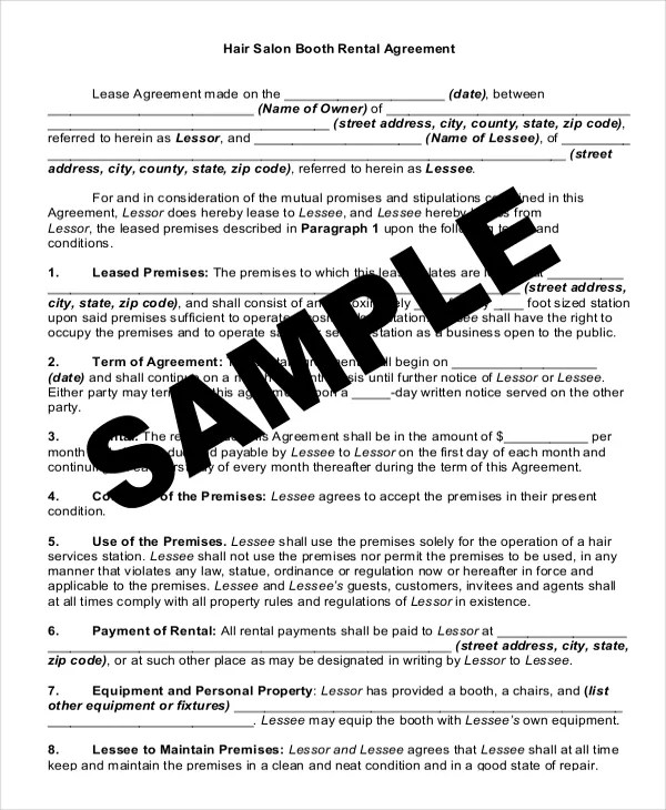 Booth Rental Agreement Template Lease Agreement Electricity North - booth rental agreement