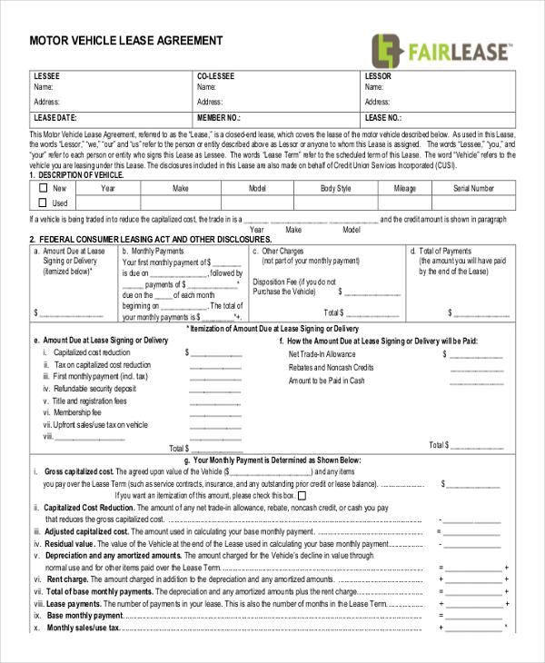 Vehicle Lease Agreement Templete Sample Auto Lease Agreement Auto - free simple lease agreement template