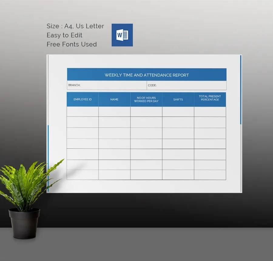 Weekly Activity Report Template - 30+ Free Word, Excel, PPT, PDF - attendance report template