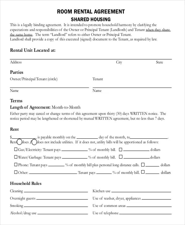 8+ Room Rental Agreement Templates u2013 Free Sample, Example Format - free tenant agreement