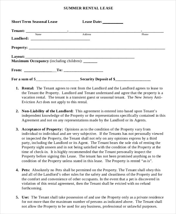 13+ Short-Term Rental Agreement Templates u2013 Free Sample, Example - rental lease agreement