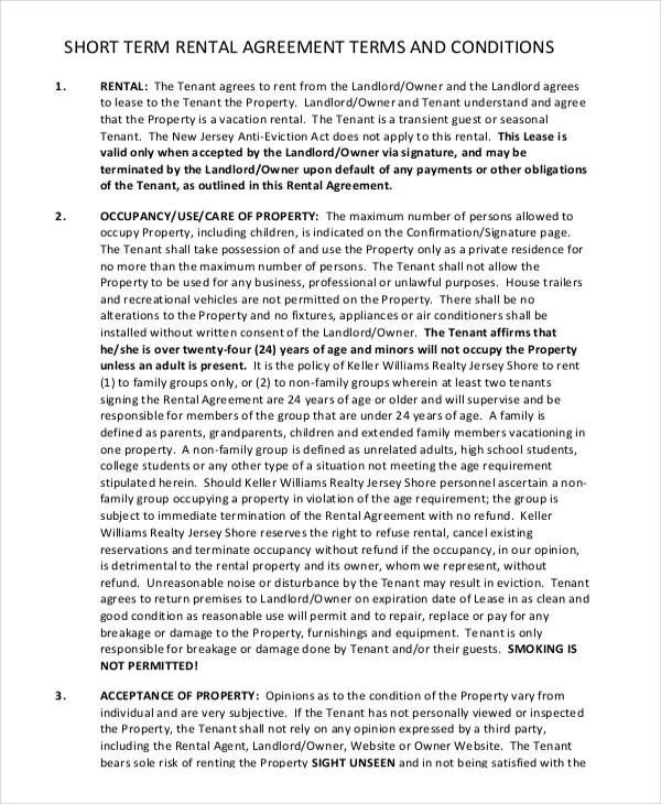 13+ Short-Term Rental Agreement Templates u2013 Free Sample, Example - equipment rental agreement sample