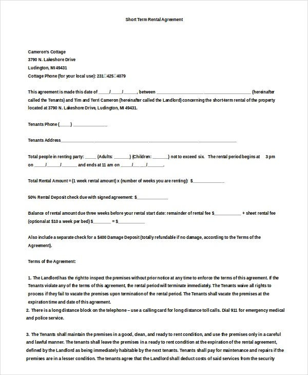 14+ Simple Rental Agreement Templates u2013 Free Sample, Example - sample equipment rental agreement