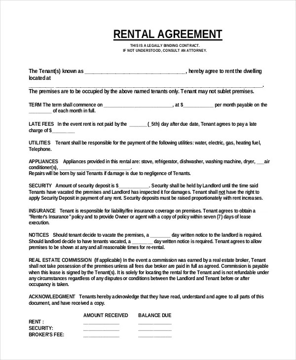 18+ Simple Rental Agreement Templates - Free Sample, Example Format - Sample Lease Agreement Form