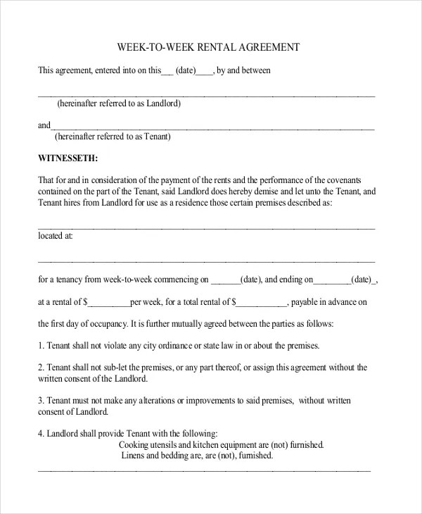 25+ Simple Rental Agreement Templates - Free Word, PDF Format