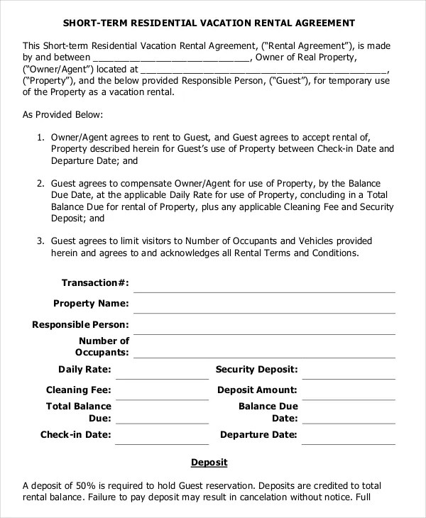9+ Vacation Rental Agreement \u2013 Free Sample, Example Format Download - rental agreement