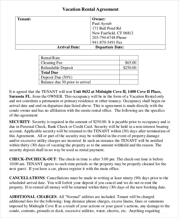 10+ Vacation Rental Agreement \u2013 Free Sample, Example Format Download