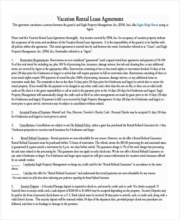 9+ Vacation Rental Agreement \u2013 Free Sample, Example Format Download - house rent contracts