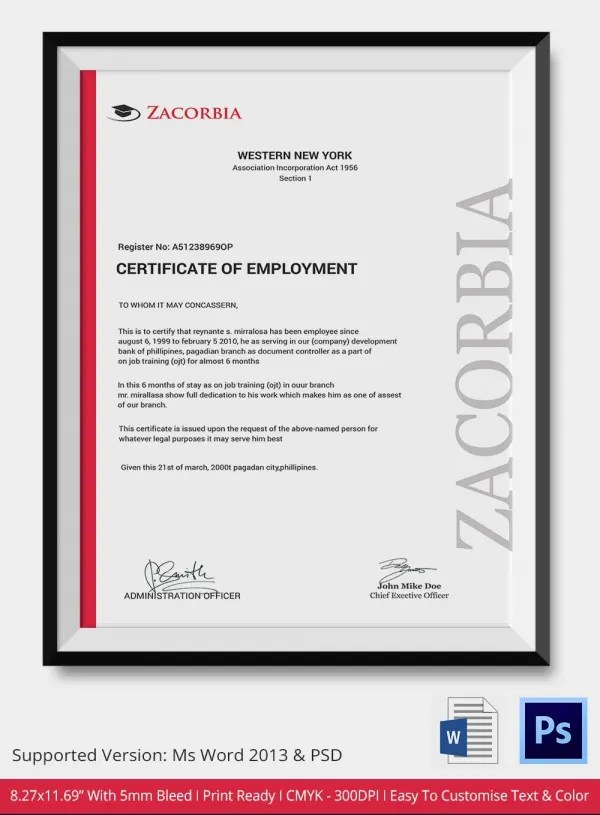Deped Certificate Of Employment Sample Choice Image Certificate