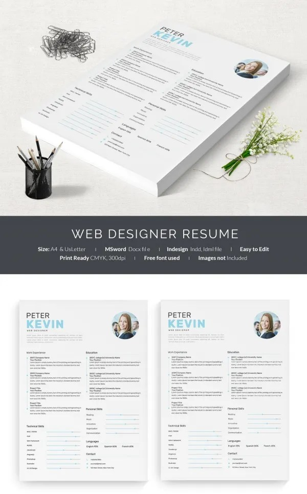 41+ One Page Resume Templates - Free Samples, Examples,  Formats - web design resume