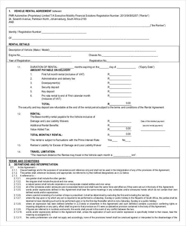 13+ Car Rental Agreement Templates u2013 Free Sample, Example Format - agreement templates