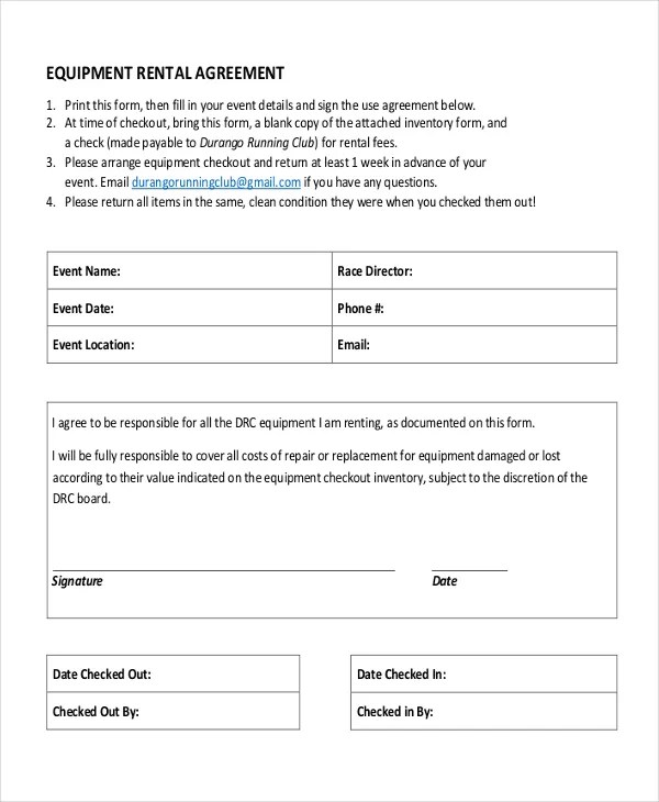 21+ Equipment Rental Agreement Templates - Free Sample, Example - free rental agreement form