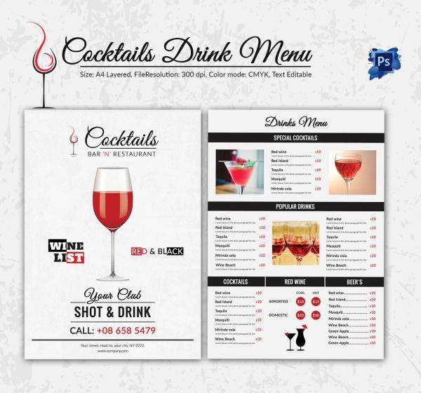 drinks menu templates free the-links - drinks menu template free