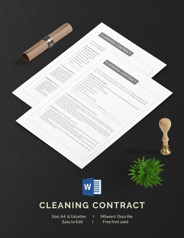 sample cleaning contract