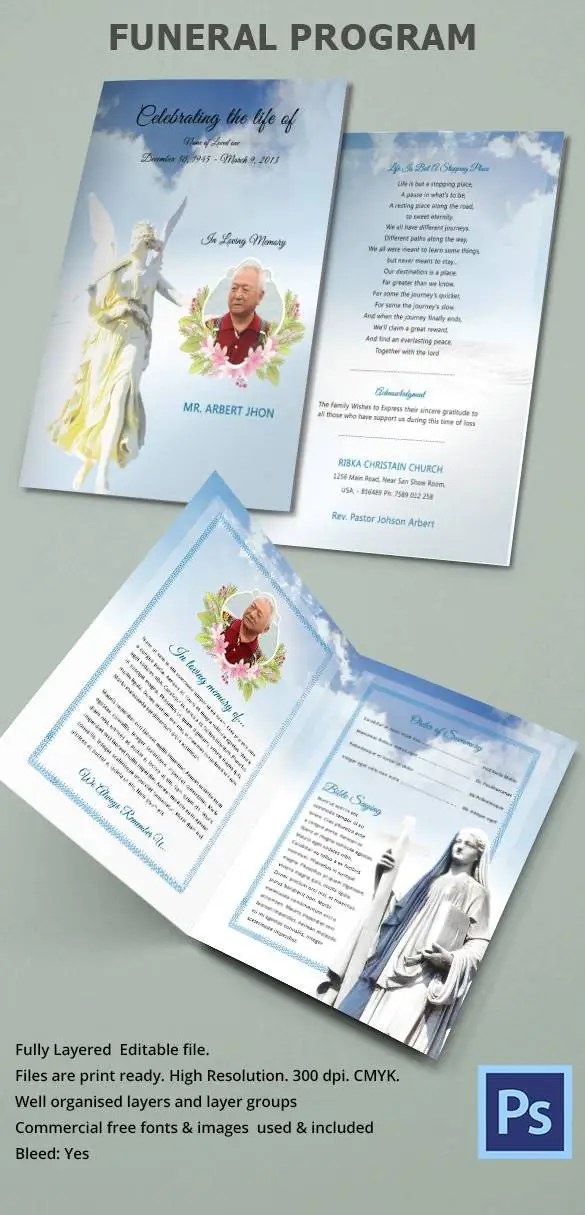 Obituary Program Template \u2013 19+ Free Word, Excel, PDF, PSD, PPT - free obituary program template