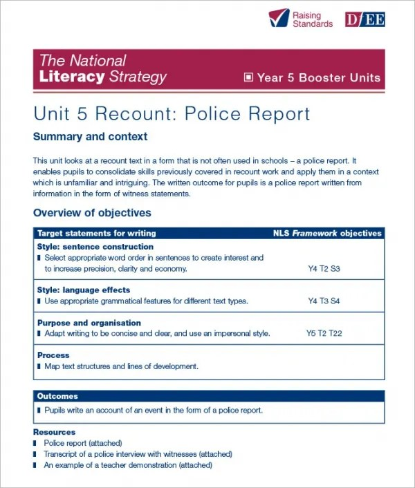 mock police report – Police Report Format Template