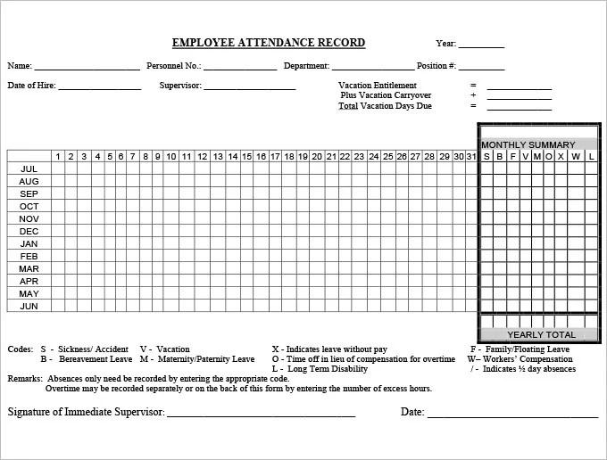 employee attendance forms