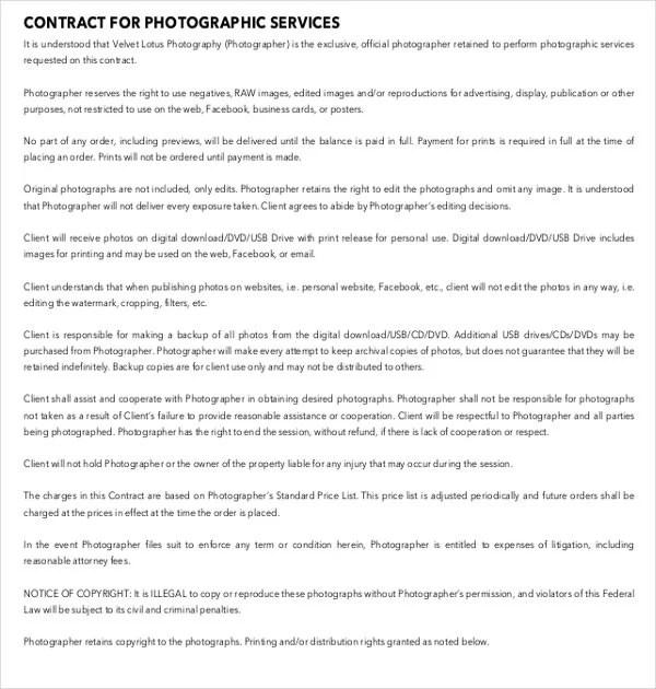18+ Photography Contract Templates \u2013 PDF, DOC Free  Premium Templates