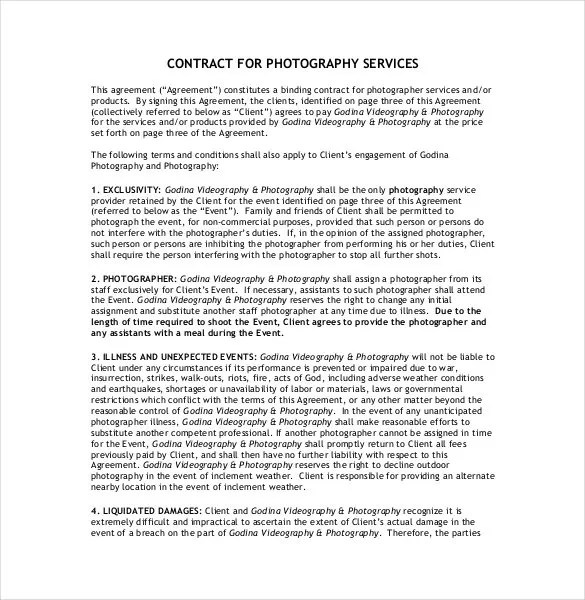 Photography Contract Template u2013 18+ Free Word, PDF Documents - photography services contract