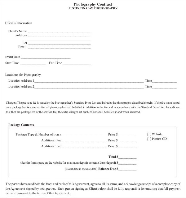 Photography Contract Template u2013 20+ Free Word, PDF Documents - client information form template