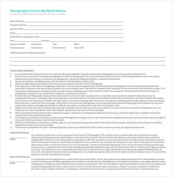 Photography Contracts Photography Contract Template Wedding - photography contracts