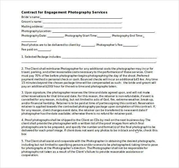 Photography Contract Template u2013 20+ Free Word, PDF Documents - business service contract template