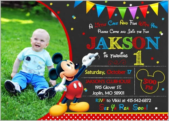 Mickey Mouse Invitation Templates \u2013 26+ Free PSD, Vector EPS, AI