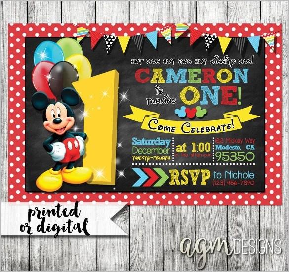 Mickey Mouse Invitation Templates \u2013 29+ Free PSD, Vector EPS, AI