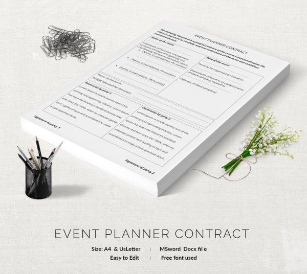 Planner Contract Template Download By SizeHandphone Tablet Desktop - event coordinator contract sample
