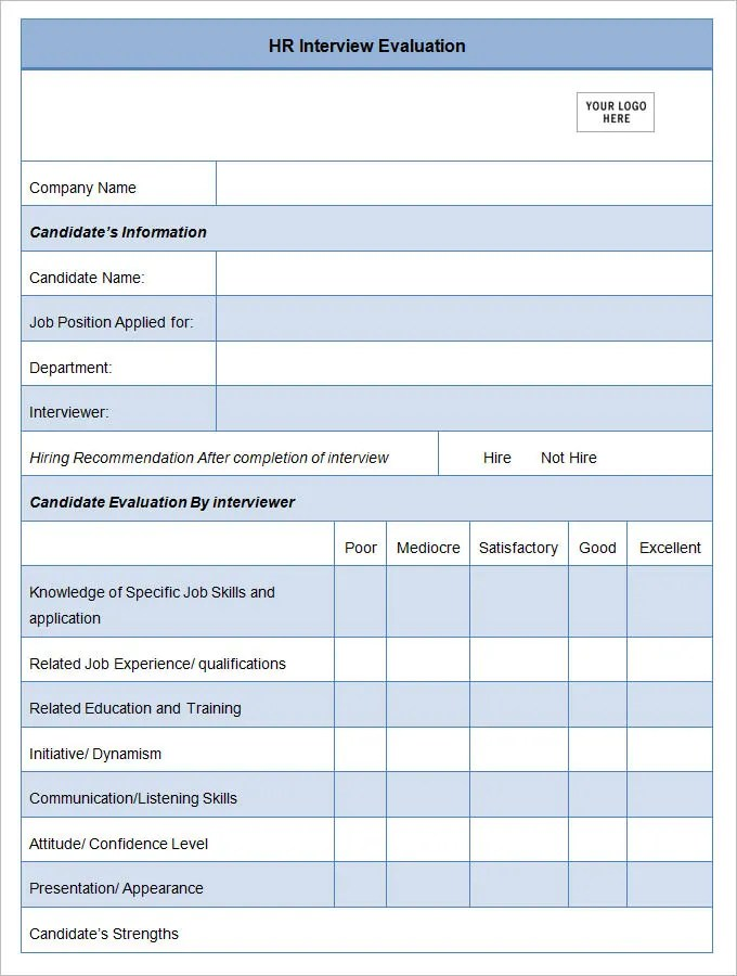 11+ Sample HR Evaluation Forms  Examples - PDF, DOC, PSD Free