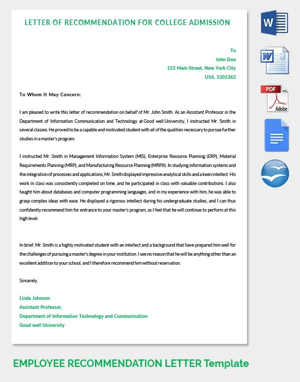 college admissions recommendation letter