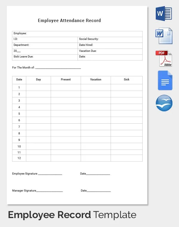 Employee Record Templates -32+ Free Word, PDF Documents Download - attendance report template