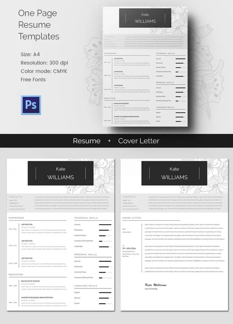 one page resume word template free download