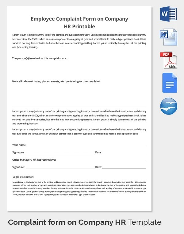 29+ HR Complaint Forms - Free Sample, Example Format Free - hr form