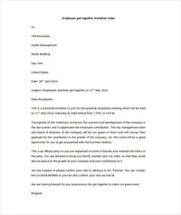 HR Invitation Letter Template - 25+ Free Word, PDF, Documents - get together invitation template