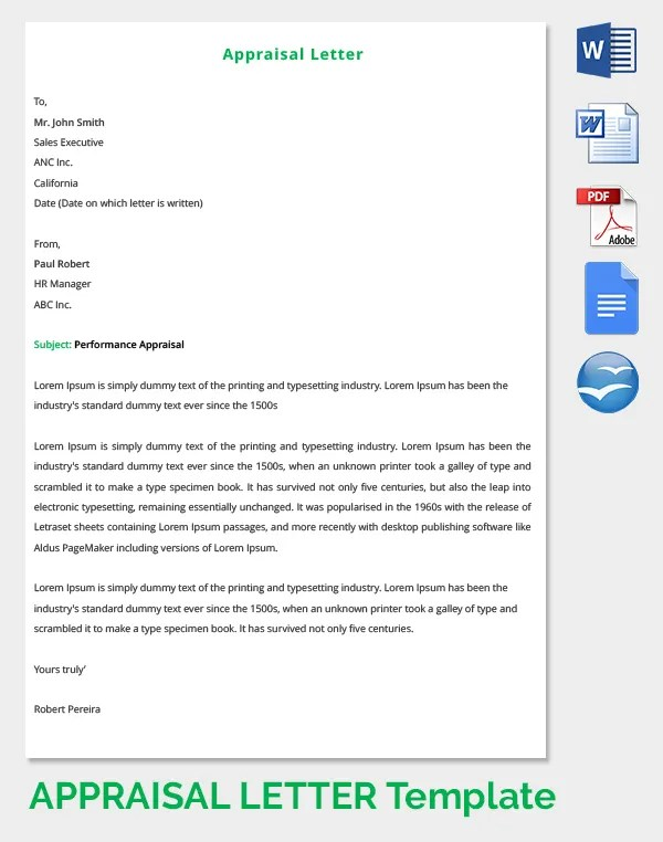 Formal letter example writing annual reviews