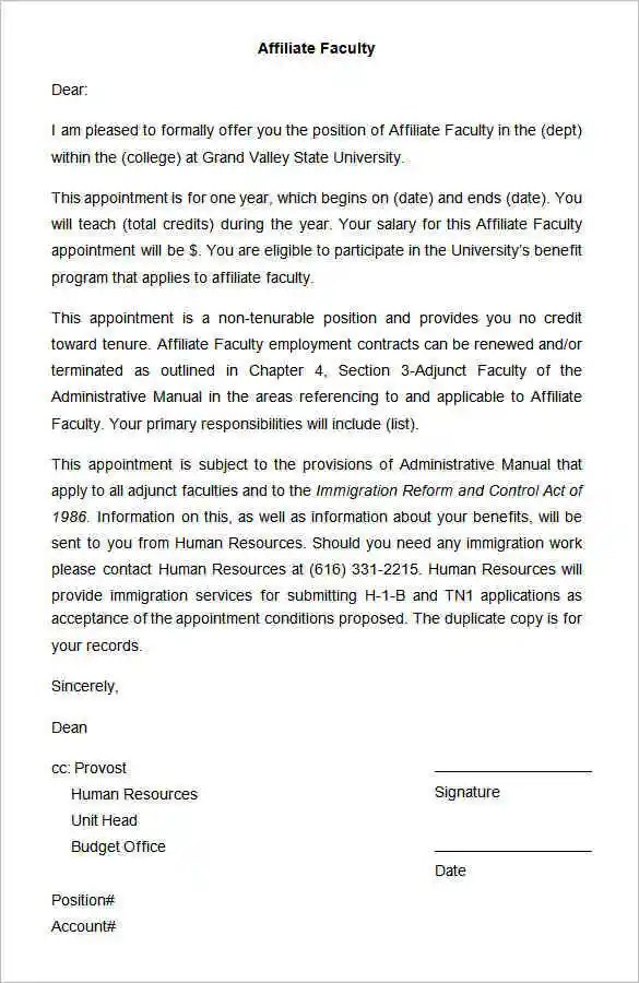27+ Appointment Letter Templates - PDF, DOC Free  Premium Templates - sample appointment letter