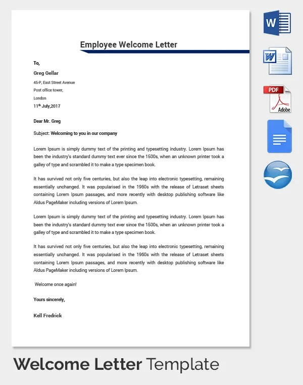 Technology company welcome letter to new employees College paper