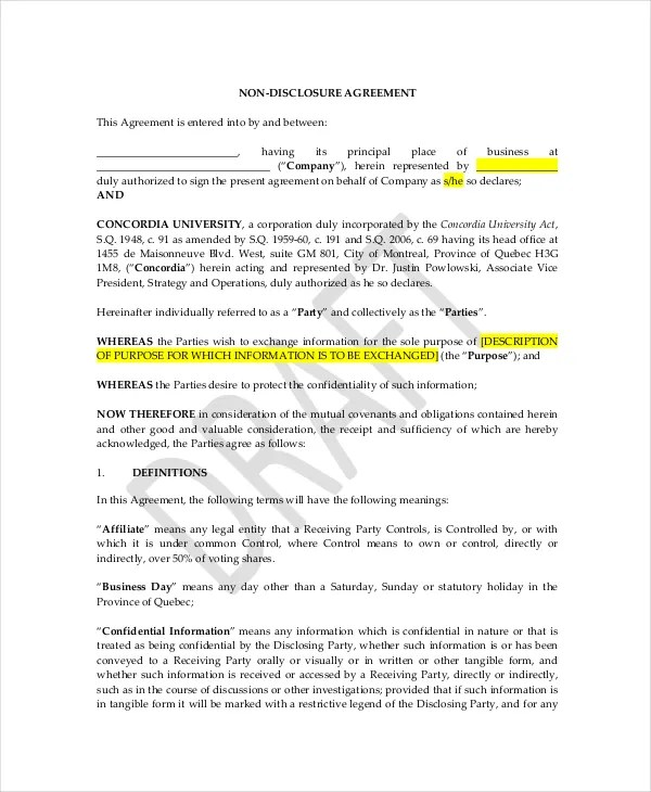 Celebrity Confidentiality Agreement \u2013 7+ Free Word, PDF Documents - housekeeper contract templates