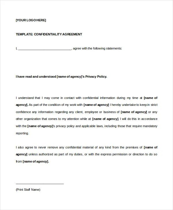 Confidentiality Agreement Template Law Firm Employment - non disclosure agreement word document