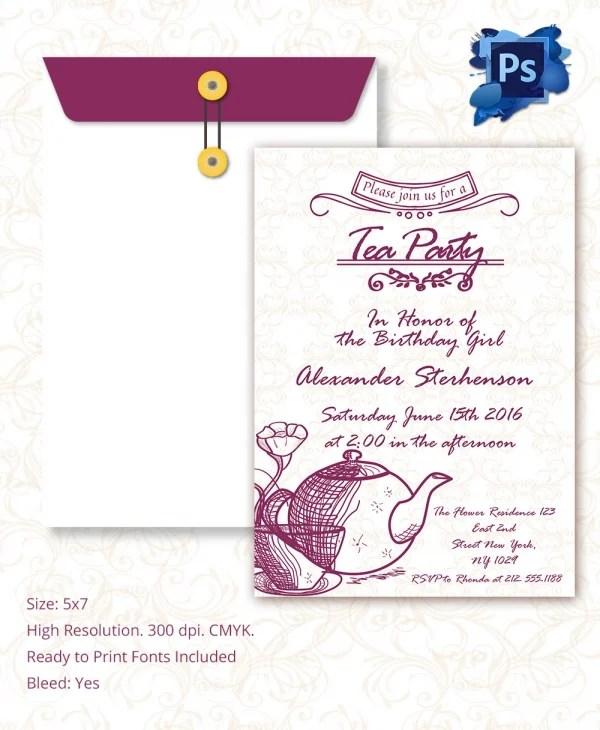 Party Invitation Template u2013 31+ Free PSD, Vector EPS, AI, Format - tea party invitation template