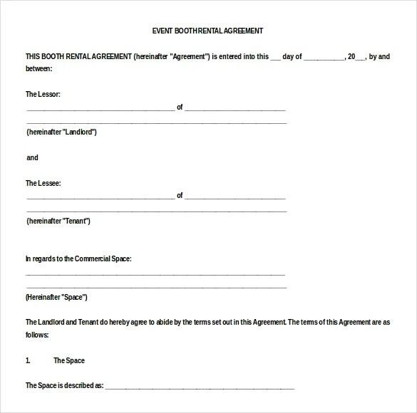 Booth Rental Agreement \u2013 9+ Free Word, PDF Documents Download Free