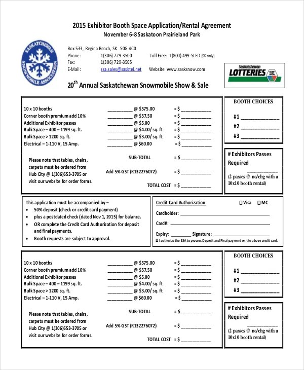 Booth Rental Agreement u2013 9+ Free Word, PDF Documents Download - booth rental agreement