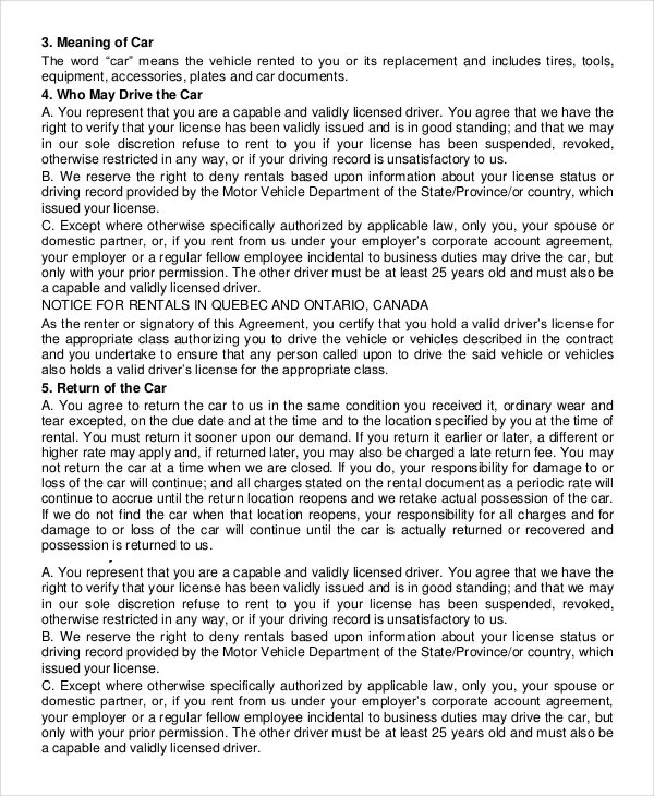 Car Rental Agreement \u2013 11+ Free Word, PDF Documents Download Free - free download lease agreement