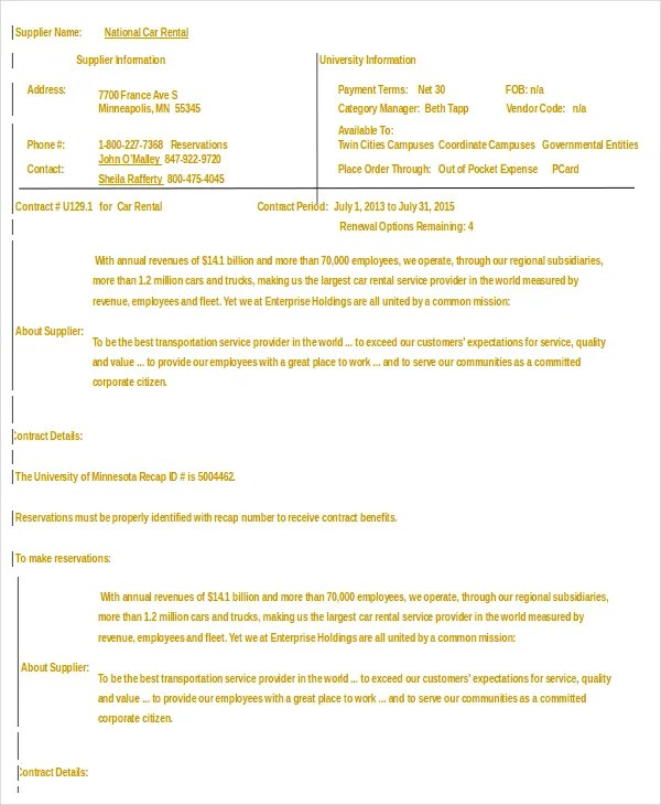 Car Rental Agreement \u2013 11+ Free Word, PDF Documents Download Free
