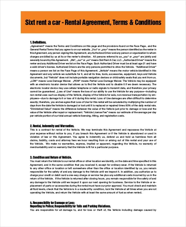 Car Rental Agreement \u2013 11+ Free Word, PDF Documents Download Free - car contract template