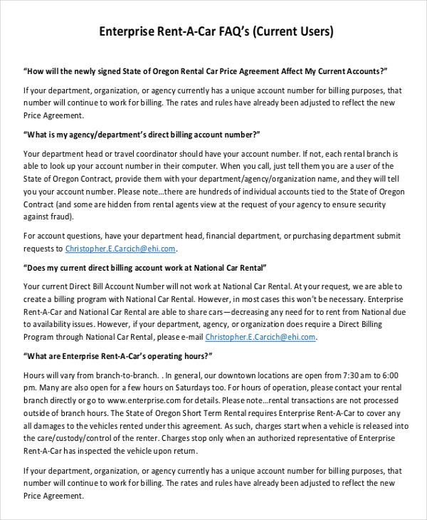 Enterprise Rental Agreement \u2013 8+ Free Word, PDF Documents Download - define rental agreement