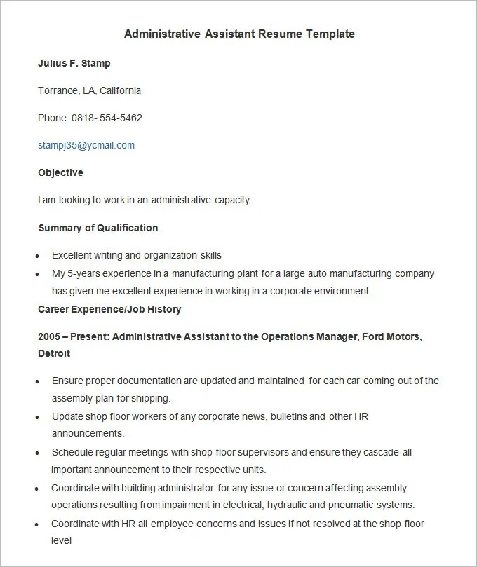 Administration Resume Template \u2013 24+ Free Samples, Examples, Format - retail administrator sample resume