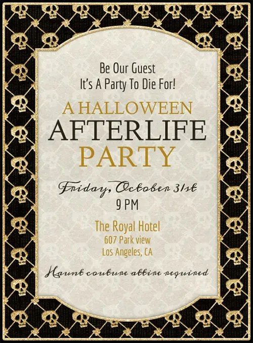 Halloween Invitation Template After Life Party Halloween - halloween invitation template