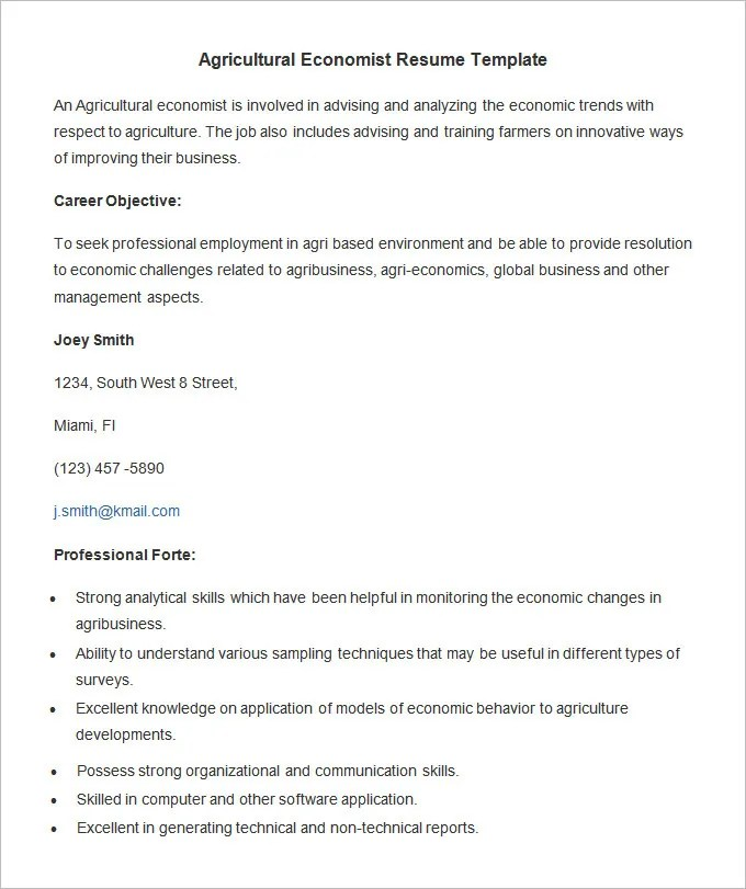 Agriculture Resume Template \u2013 24+ Free Samples, Examples, Format - really good resume examples